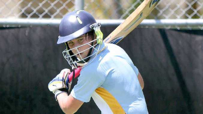 Luke Armstrong hits out in training ahead of the opening match of the state U14 cricket championships at Harrup Park.