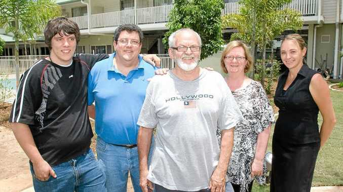 Mitch Lock (from left) property managers Peter and Sonja Lock, with events manager Sherilee Matthews, and front, Lismore Gateway Motel and Restaurant owner John Gardner.