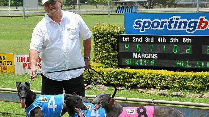 Grafton trainer Jim Madigan with his three winners at Casino last Friday, Royal Victory, Black Dolce and Hanify's Gem.