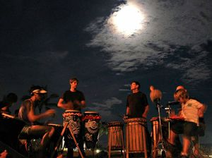 Drummers moonstruck by eclipse