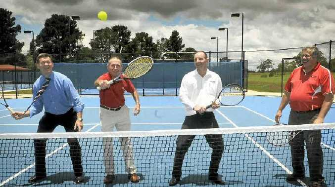 Toowoomba Regional Council Mayor Peter Taylor, Ashley Cooper from Tennis Australia, sponsor Rob Weymouth and Toowoomba Tennis Association president Allen Smythe at today's launch.