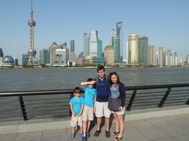 Shanghai skyline with the four of us (Steve, Karina, Harris and Patrick).
