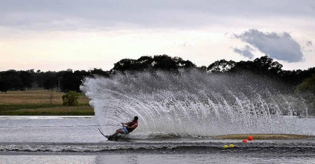 Jason Cobon tears through the water at Storm King Dam.