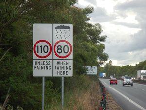 Speed cut on wet highway