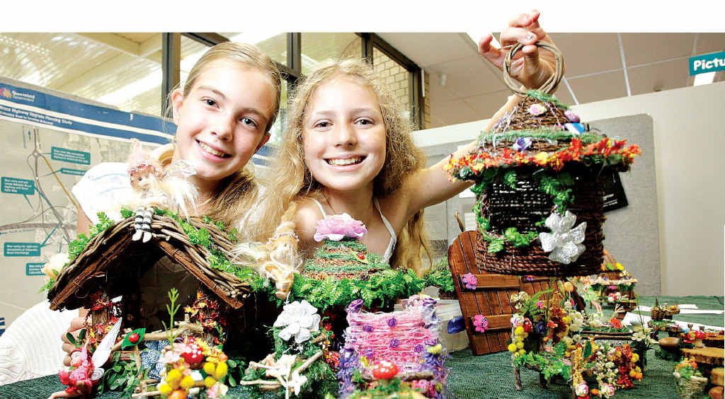 Samara Welbourne and Isobel Lawson with some of their goods at their Y-shop at Maroochydore Library.