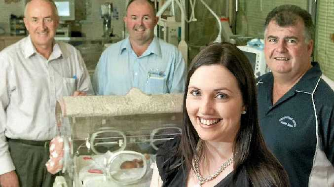 Chronicle On The Punt tipsters (from left) Glen McCullough, Paul Reedy, Lisa Frappell and Glenn Howell visit the Toowoomba Hospital special care nursery.