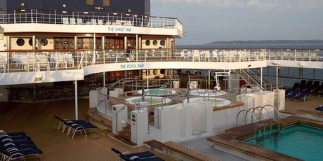 The Celebrity Century's pool deck.
