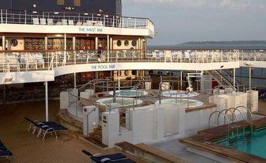 The Celebrity Century's pool deck.