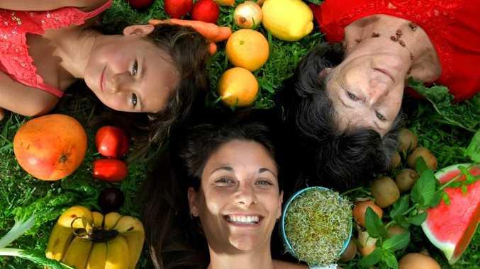 Family members Laura Caldaia, Marianne Caldaia and Kiana Kissell, 5, are about to go organic.