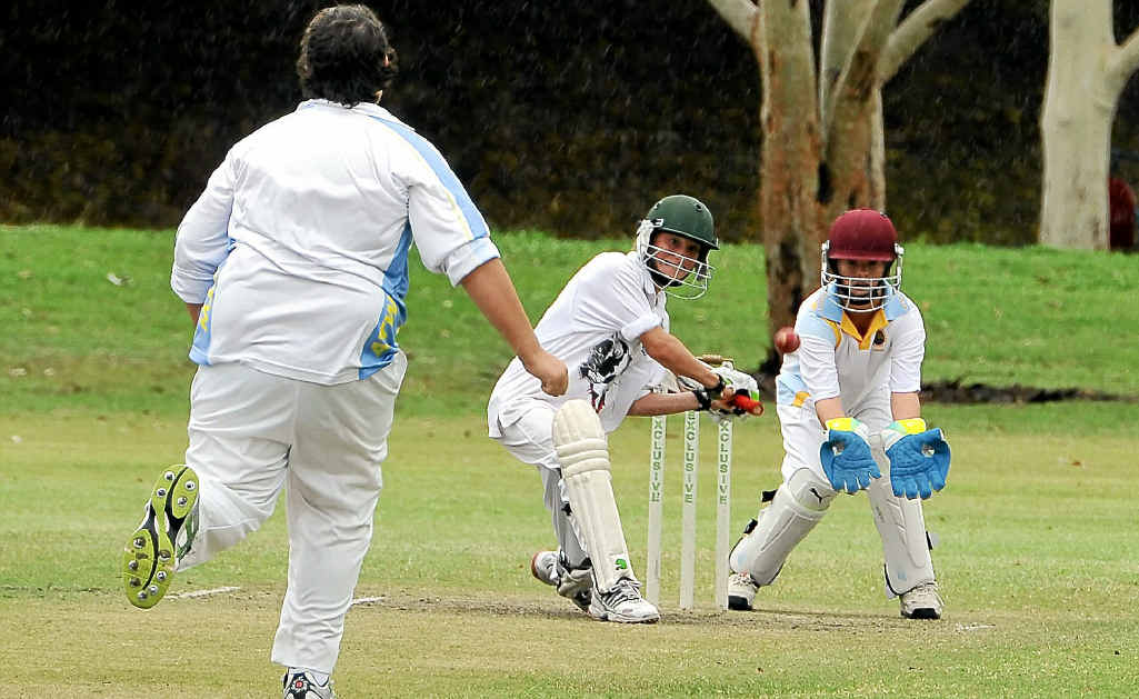 Combined Country Wests batsman Andrew Porter lines up to hit a cover drive in the match against ATW.