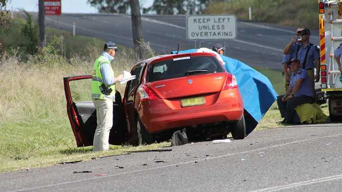 The scene of a fatal accident on the New England Hwy, north of Warwick.