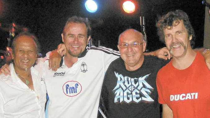Fossil Rock at the Cherry Street Sports Club last Saturday, where they will play their last gig on New Year's Eve (from left) Joe Aleman, Jeff Massey, Garry Lavercombe and Paul Gill.