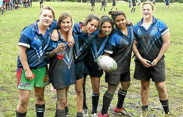 Girls enjoying their rugby include, from left, Alyssa Powell, Freya Russell, Daisy Gordon, Keone Fraser and Zelma Avery (all Casino High) and Maddy Bock (Evans River K-12). Alyssa, Freya and Daisy attended the training camp.