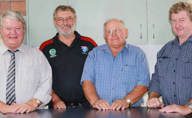 Federal MP Ken O'Dowd, Lester Anderson, John Engwicht and Vaughan Johnson discuss the Blackwater airport.