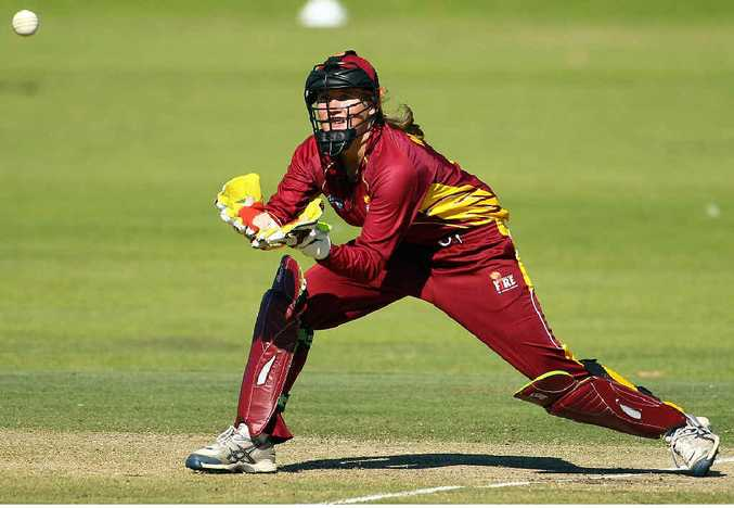 Hervey Bay's Beth Mooney in action for the Queensland Fire in the Women's National Cricket League Twenty20 competition.