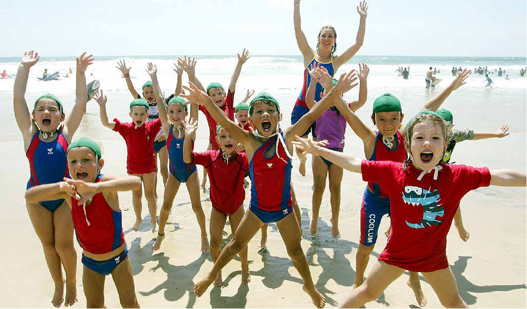 "Coolum's ""apprentice"" nippers, the Green Caps, and Kate Norman let off some steam on Sunday."