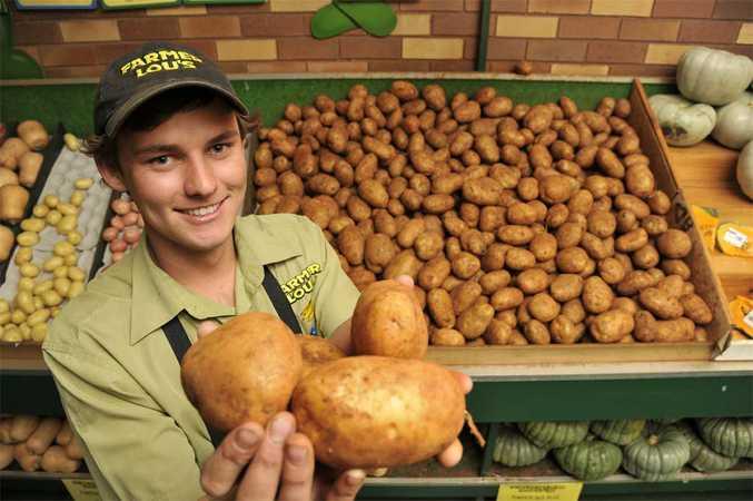 Brad Arnott of Farmer Lous with some potatoes.