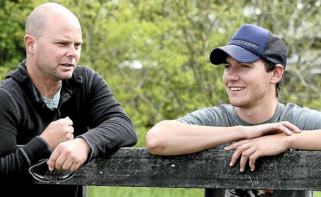 Skipper Matthew Dunn and trusty lieutenant Ben Rodgers discuss the morning's track work.