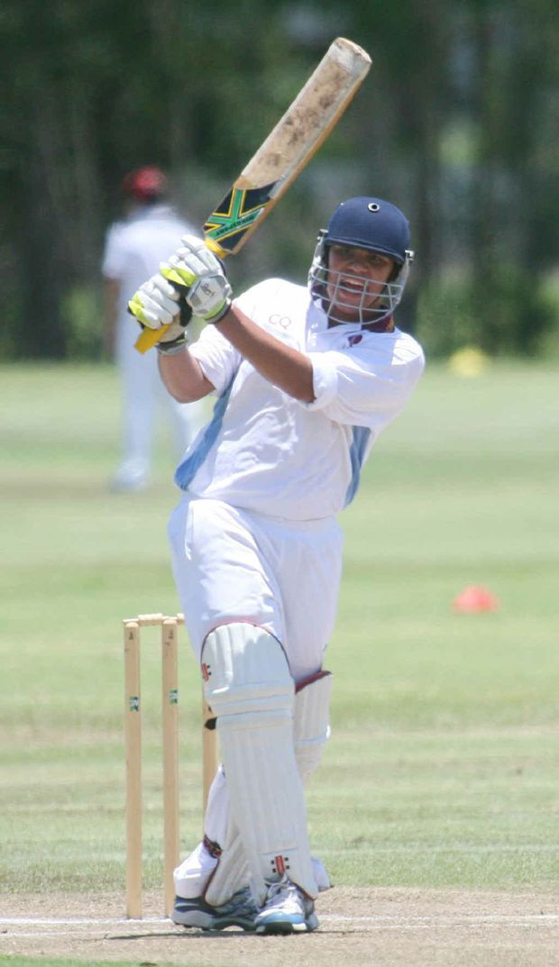 Tyran Eggmolesse playing for Central Queensland in the state U15 cricket titles.