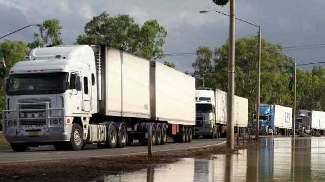 The first trucks to enter Rockhampton from the south after the recent floods are only a small example of how many trucks go through Rockhampton each day.