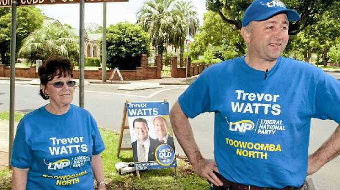 LNP members Glenis Batten and Dr David Van Gend set up shop near Queens Park, just around the corner from their opponent State Member for Toowoomba North Kerry Shine.