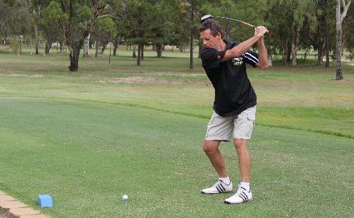 Kent Bird tees off on the ninth hole at the Bundaberg Golf Course.