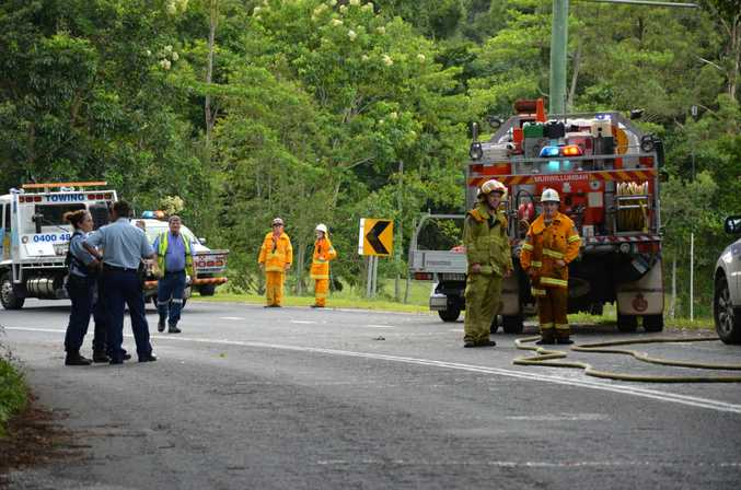 Photograph from the scene of a serious accident on Uki Rd between Murwillumbah and Uki.