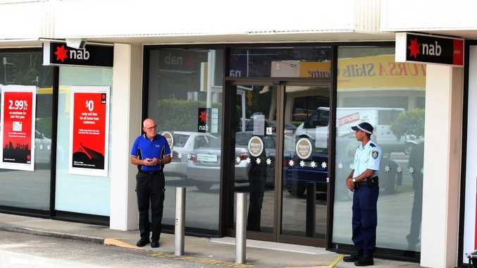 Police at the scene of the robbery at National Australia Bank, Tweed Heads South.
