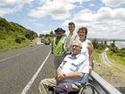 (From left) engineering works manager Paul Busmanis, Ballina civil services group manager John Truman, Ballina councillor Susan Meehan and Ballina Mayor Phillip Silver (front) at the re-opening of the Coast Rd between Lennox Head and Ballina.