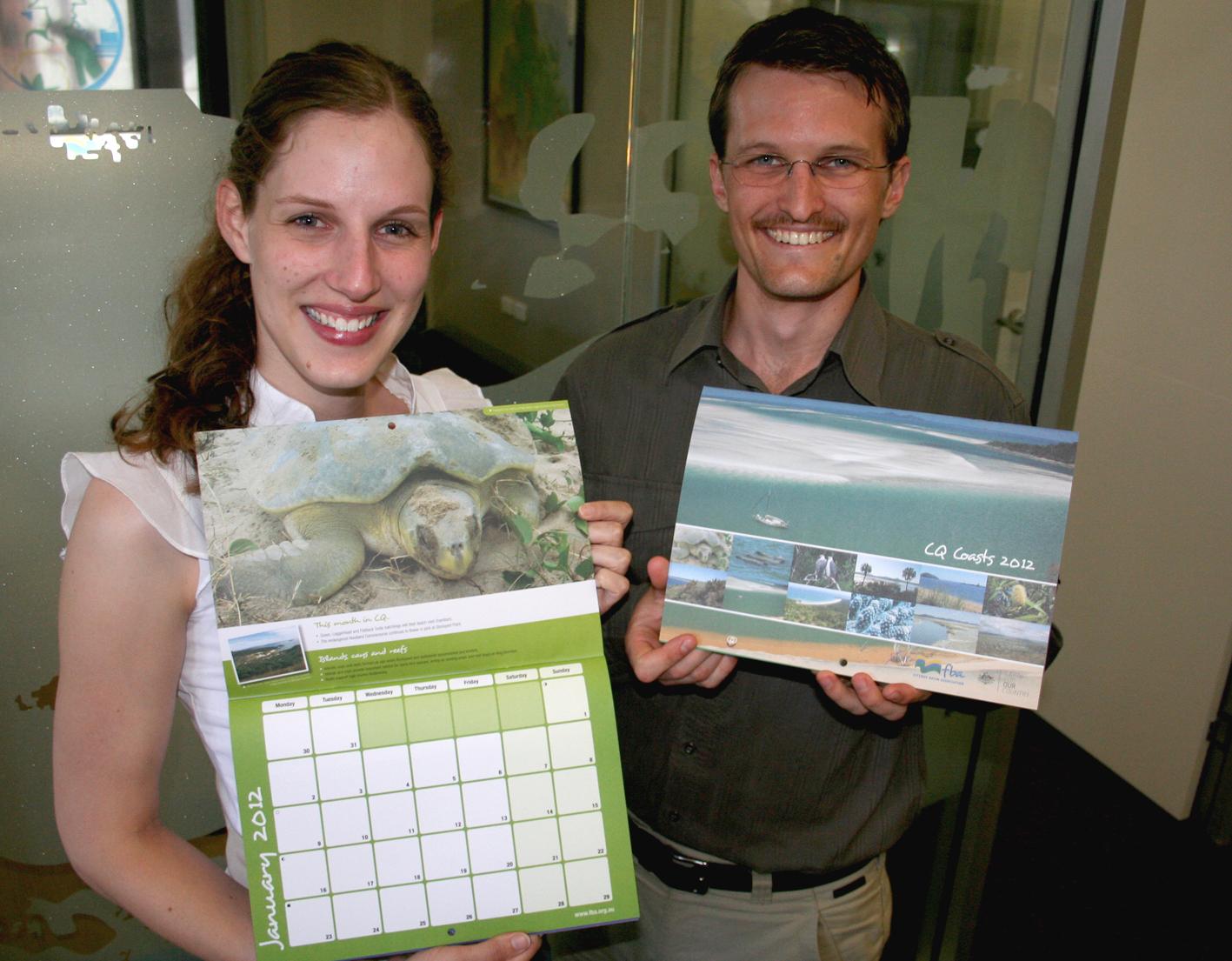 Fitzroy Basin Association Coastal team members Jenna Bishop and Shannon van Nunen with the 2012 calendars.