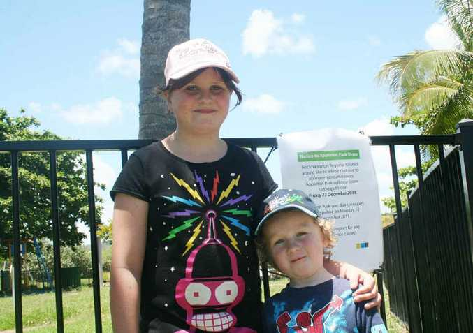 Jasmine and Desmond Boys, holidaying on the Capricorn Coast for Christmas, are looking forward to being able to play in Appleton Park after it had been closed during the start of the school holidays.