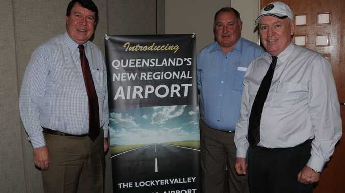 Launching the Lockyer Valley airport are (from left) Paul Lucas, Steve Jones and Randal McFarlane.