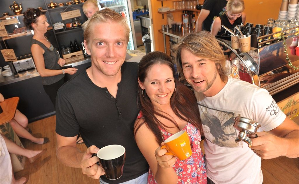 The Good Bean Espresso Bar in Mooloolaba won the dining section of the 2011 Friendly Faces of Mooloolaba competition. Owner Shane Hepburn, far left, is pictured here with managers Miriam and Silas Flack.