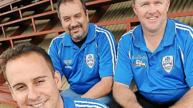 Alloway Football Club's director of coaching Craig Brown (front), head development coach Lynn Hodgkinson and vice-president Chad Simpson.