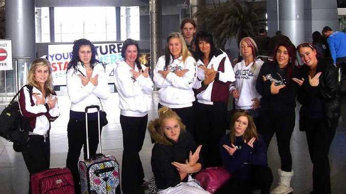 ADRENALIN OUTLAWS: Melanie King, Belinda Patroni, Kelly Tandy, Jenna Tandy, Jarrah Bathe, Kody Smith, Zoe Daniello, Laura Harris, Nikki Bye, Courtney Nicholas, Emma Bartos at Las Vegas airport.