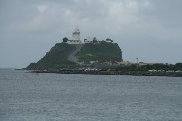 The city's famous Nobby's Head and lighthouse.