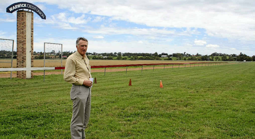 Warwick Turf Club president Jim Costello has a look at the track of the Boxing Day races.