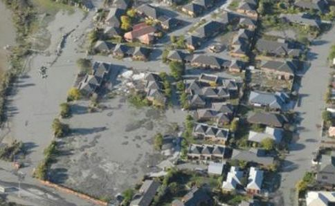 Liquefaction in the Burwood / New Brighton area of Christchurch.