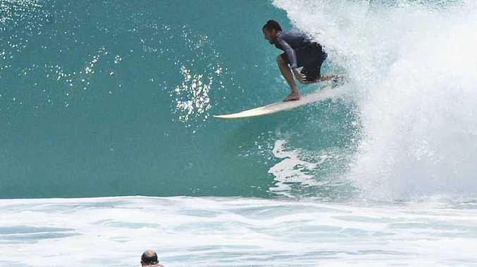 Big waves keep surf clear of bodysurfers.