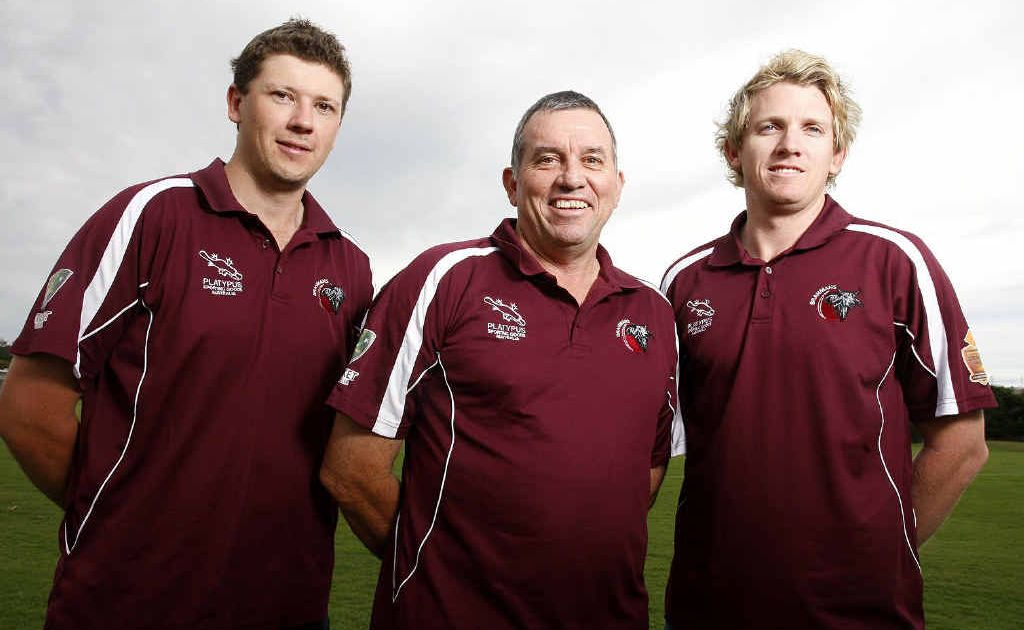 Ipswich's Queensland Country representatives Kev Cumming (left) and Ben O'Connell with coach Len Martin (middle).