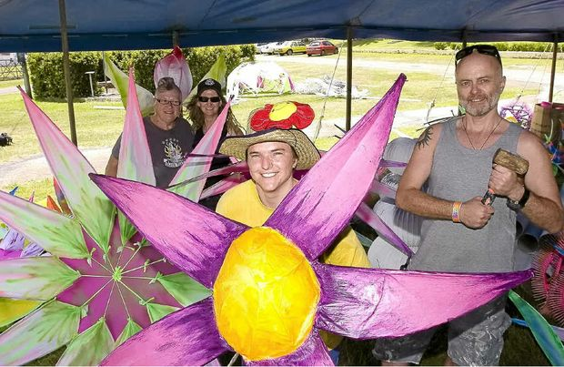 Preparing for the Tropical Fruits New Year's Eve festival were, from left, Susi St Julian (site manager), Alison Corfield (Tropical Fruits chairwoman), Laure Despland (green girl or waste manager) and Tim Childs (tool shed co-ordinator).
