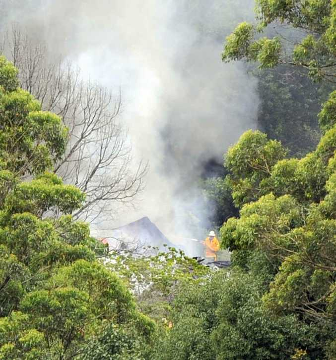 Fire destroyed a home on Bentley Road at Tullera yesterday.