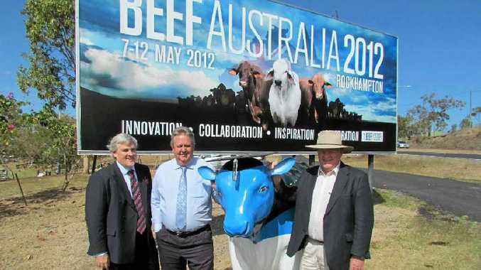 CQUniversity deputy vice-chancellor Alastair Dawson, Rockhampton Regional Council Mayor Brad Carter and Beef Australia 2012 chairman Geoff Murphy look forward to next year's big event.