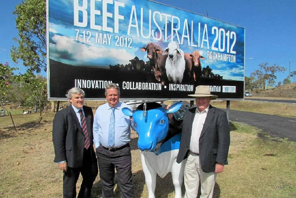 CQUniversity deputy vice-chancellor Alastair Dawson, Rockhampton Regional Council Mayor Brad Carter and Beef Australia 2012 chairman Geoff Murphy look forward to next year's big event.