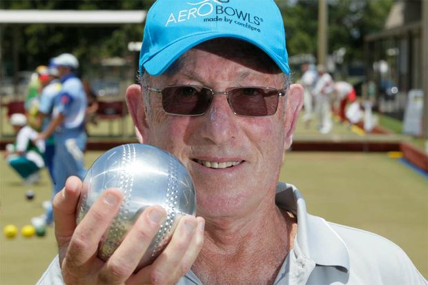 Walter Jacobs CEO of Aero Bowls with his newly designed Lawn Bowl at Ballina Bowling Club for the Summerlan Series Pair competition.