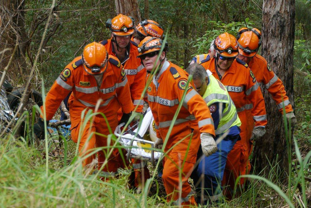 SES crews rescue the injured rider near Coramba earlier today. PHOTO: FRANK REDWARD