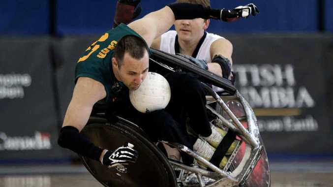 Australia's Cameron Carr (left) is knocked over by USA's Andy Cohn during the gold medal match at the World Wheelchair Rugby Championships in Canada last year.