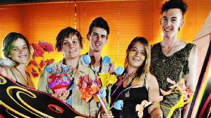(L-R) Georgie Schulz of Lismore, Alicia Harper of Woodenbong, co-chairpersons Neil Hendriks and Aura-Lea Withers, and Angus Shinners of Lismore, at the Tropical Fruits NYE venue.