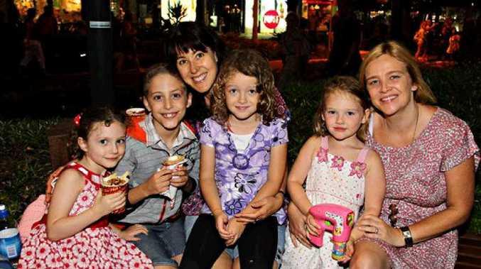 Georgia Smythe, 3, Declan Smythe, 7, Selina Erbacher, Phoebe Erbacher, 7, Claudia Kentera, 5, and Karen Kentera at Mooloolaba.