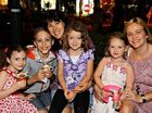 Georgia Smythe, 3, Declan Smythe, 7, Selina Erbacher, Phoebe Erbacher, 7, Claudia Kentera, 5, and Karen Kentera at Mooloolaba.